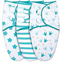 GLLQUEN BABY Swaddle Blankets for Baby Boys, Blue Star & Crown, 3 Pack Wrap Set, Newborn Adjustable Swaddles Sleep Sack, 0-3 Months (Small/Medium)