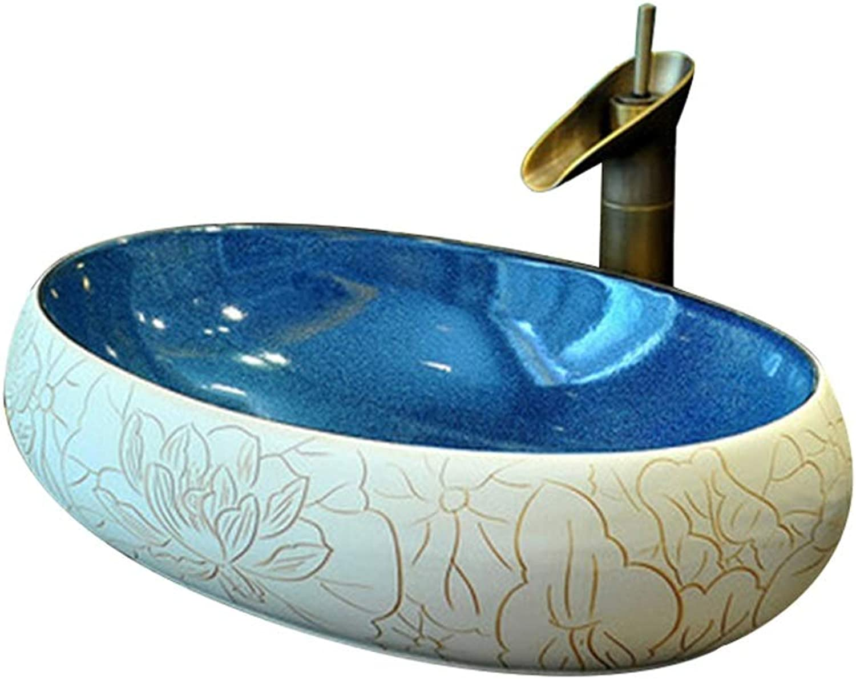 XCJ Keramikwaschbecken Für Badezimmer , Ovale Waschtischplatte X 60X40X15 cm (Wasserhahn Nicht Inbegriffen) Waschbecken Waschpltze