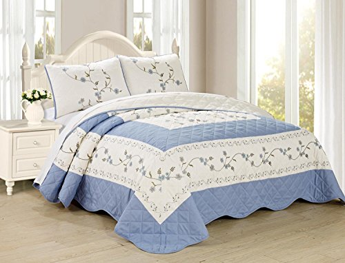 All American Collection New 6pc Embroided Floral Bedspread/Quilt Set (3PC King Size, Light Blue)