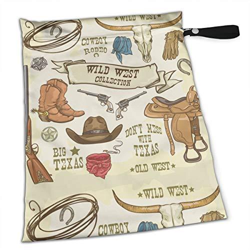 Western Wild West Collection Cowboy Stuff Texas Rodeo - Bolsa húmeda impermeable para pañales, bolsa de viaje reutilizable para traje de baño, ropa húmeda artículos de bebé