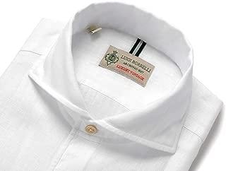 ルイジボレッリ ルイジボレリ LUIGI BORRELLI / 20SS!製品洗いリネンポプリン無地イタリアンカラーシャツ「VESUVIO-EX(9129)」 (ホワイト) メンズ