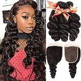 Brazilian Human Hair Bundles Loose Wave 3 Bundles With Closure 100% Unprocessed Human Hair Loose Curly Weave Bundles with 4X4 Lace Closure Natural Color(24 26 28+20)