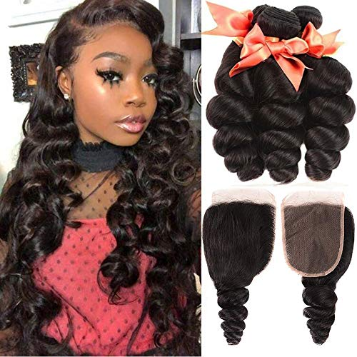 Brazilian Human Hair Bundles Loose Wave 3 Bundles With Closure 100% Unprocessed Human Hair Loose Curly Weave Bundles with 4X4 Lace Closure Natural Color(24 26 28+20)