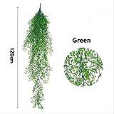 XFLOWR 80CM / 120CM Planta Artificial Flor Colgante Planta Fake Vine Admiralty Willow Rattan Planta Colgante para el jardín de su casa Decoración de la Pared 120CM Verde