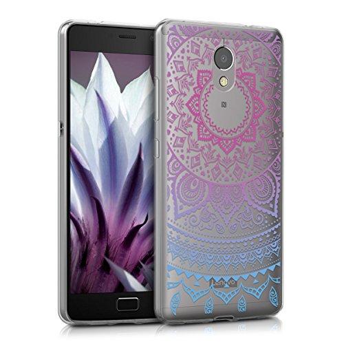 kwmobile Hülle kompatibel mit Lenovo P2 - Hülle Silikon transparent Indische Sonne Blau Pink Transparent