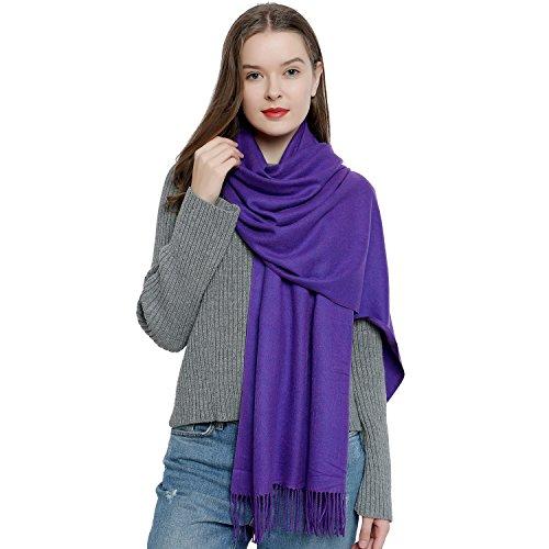 DonDon Damen Schal einfarbig weich 185 x 65 cm lila
