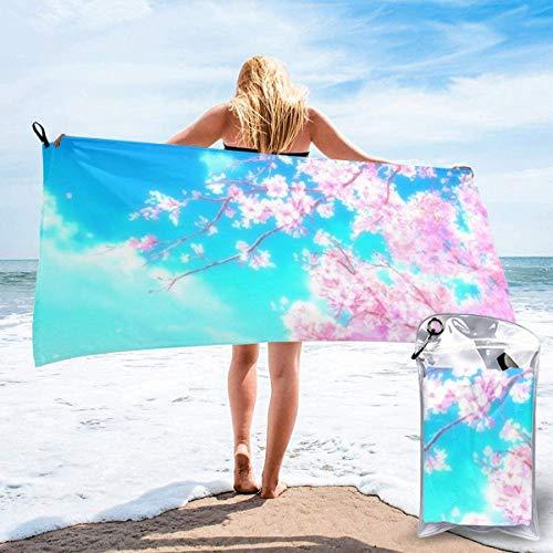 Toalla de Playa 27.5 'X 55',Flor de melocotón Microfibra de Arena Ultra Suave Portátil Absorbente de Agua Microfibra múltiple Sin Arena Toalla de Playa Manta