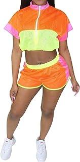 FSSE Women 2 PCS Outfits Crop Top Zip Front Color Block Short Sleeve Tracksuits Outfit