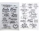 Welcome to Joyful Home 2pc/Set Love You Memory Family Sentiment Clear Stamp for Card Making Decoration and Scrapbooking 11x16cm