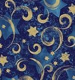 Gold Star Blue Swirl Gift Wrap Roll 24' X 16'