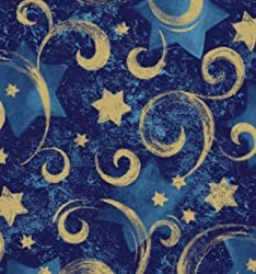 Swirly Star Navy Blue wrapping paper