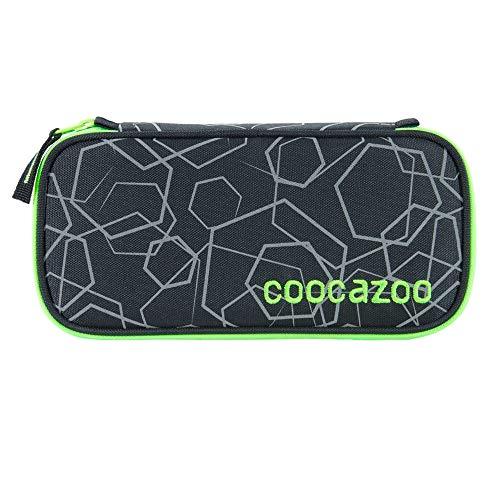 """coocazoo Federmäppchen PencilDenzel """"Laserreflect Solar-Green"""" schwarz/grün, Schlamperetui, Geodreieckfach, Stundenplanfach, herausnehmbarer Stiftehalter, zusätzliches Reißverschlussfach"""
