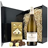 Chablis Gift Set - Chardonnay Wine and Chocolates Gift Hamper Box - Birthday, Christmas Gifts for White Wine Lovers