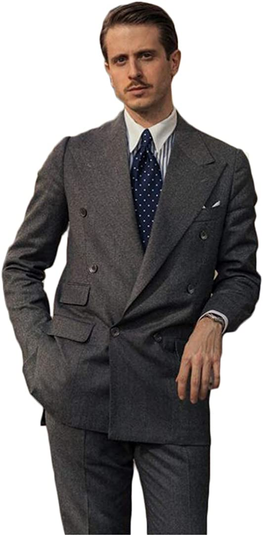 Men's Thick Woolen Suit Double Breasted Blazer Jacket and Long Pant for Business