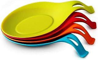 مسند/ حامل ملعقة سيليكون مرن بشكل حبة اللوز مناسب لادوات الطبخ وملعقة الغرف 4 قطع