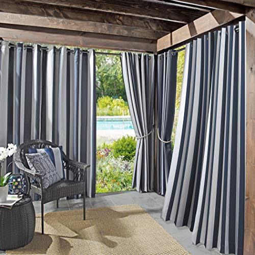 "Sun Zero 53090 Valencia UV Protectant Indoor Outdoor Curtain Panel, 54"" x 108"", Navy Blue"