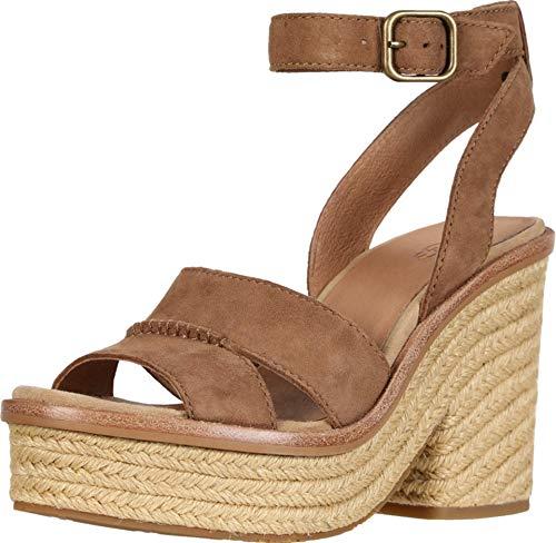 Sandalo con Tacco UGG Carine in Pelle Scamosciata Cuoio