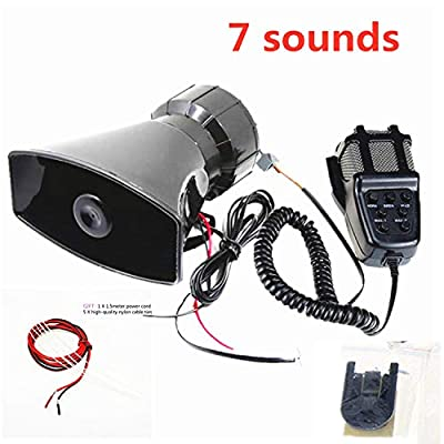 Viping 7 Tone Sound Car Siren Vehicle Horn 12V 80W with Mic PA Speaker System Emergency Sound Amplifier Auto Siren Emergency Sounds Electric Horn - Hooter Ambulance Siren Traffic Sound