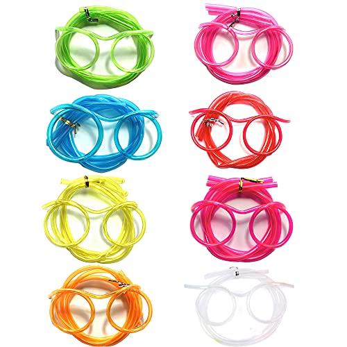 8 pezzi riutilizzabili stupidi cannuccia occhiali occhiali cannuccia occhiali pazzo divertente loop cannucce novità occhiali cannuccia per bambini festa annuale riunione feste compleanno