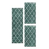 Carpetsale24 Alfombra Moderna Shaggy de Pelo Alto Juego de pasillos de Cama Azul 3 Piezas, Color:Azul, Tamaño:2 x 60x110 + 1 x 80x150