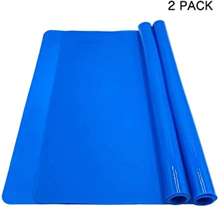 LONGFITE Silicone Baking Mats for Dough Rolling Pastry Fondant Mat Large Nonstick and Nonslip, Countertop Protector, Dining Table Mat and Placemat 20'' by 16''(Blue 2 Pack)