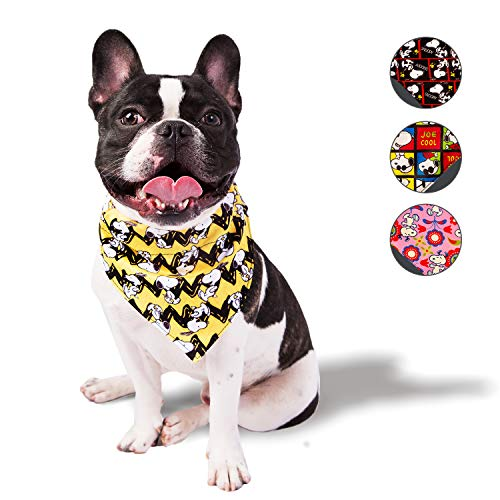 ZOOZ PETS Snoopy Dog Bandana - Official Peanuts Dog Bandanas for Dogs & Cats - Cute Colorful Bandanas for Dogs – Lightweight & Comfy Dogs Accessories - 5 Puppy Medium and Large Dog Band