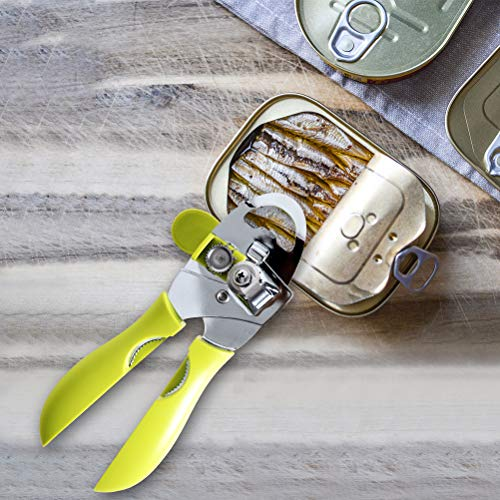Manual Tin Opener - Stainless Steel Heavy-Duty Can Opener with Smooth Edge - Professional 4 in 1 Tin, Beer, Bottle and Can Opener with Ergonomic Handle