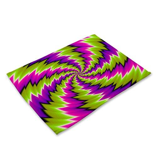 Set di stuoie e sottobicchieri Set di 6 tovagliette Antiscivolo termosaldabili con tovagliette in Cotone per Tavolo da Cucina Mandala Geometrico colorato Modello MG0038-4
