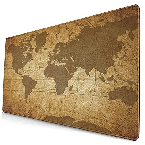 Extra Grande Juego de Azar Alfombrilla de Ratón con Bordes Cosidos,Mapa del Mundo,Antideslizante Base de Goma Ordenador Teclado Tapete,29.5' x 15.8'