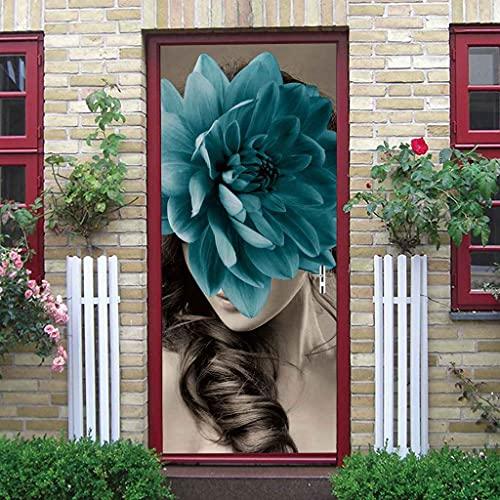 BARFPY Pegatinas de puerta Chica floral azul 3D Autoadhesivo Foto Mural Cartel Efecto Artístico Vinilo Impermeable Etiqueta De Puerta Para Habitación Cocina dormitorio Decorativos 77x200cm