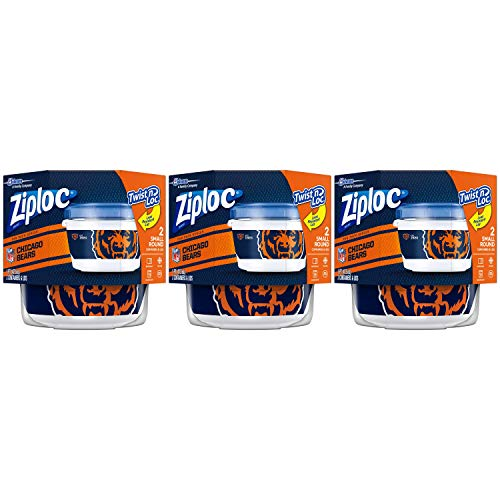 Ziploc Food Storage Meal Prep Containers, Small, 3 Count, Twist N Loc- NFL Chicago Bears