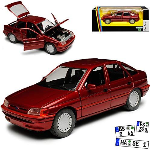 Schabak Ford Escort Schrägheck 5 Türer Dunkel Rot 5. Generation 1990-2000 1/24 Modell Auto mit individiuellem Wunschkennzeichen