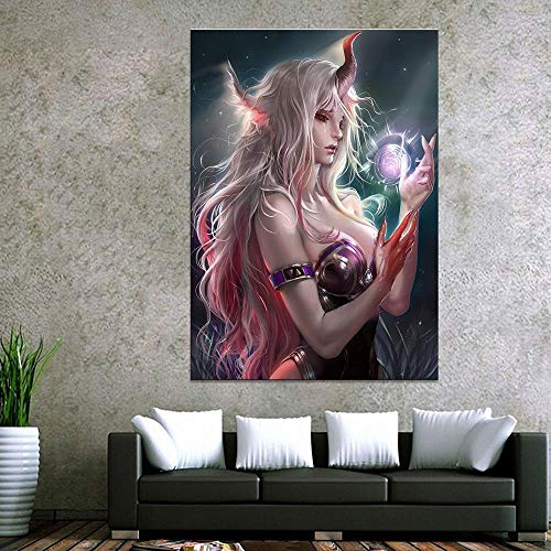 IGNIUBI Canvas Painting Home Decoration Blood Snow Dragon Game Sexy Girl Poster Anime Prints Bedroom Wall Art Pictures 60X80cm 24x32 inch No Frame