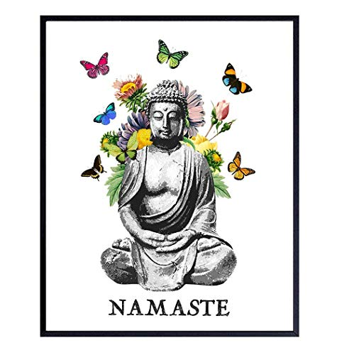Namaste Buddhism Buddha Statue Wall Art Print - 8x10 Photo, Home Decor, Meditation Room, Spa or Yoga Studio Decoration - Boho Zen New Age Gift - Unframed Butterfly Poster Picture