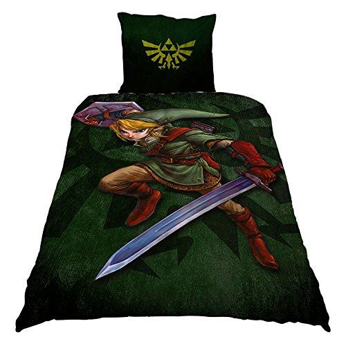 Elbenwald The Legend of Zelda Bettwäsche mit Wendemotiv Link und Triforce Logo 2 teilig Decke 135 x 200 cm Kissen 80 x 80 cm Baumwolle grün
