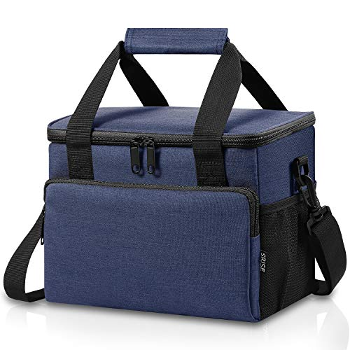 Adult Lunch Box Insulated Lunch Bag for Men & Women, Large Lunch Cooler Tote with Adjustable Shoulder Strap, Side Pockets and Water Bottle Holder, Reusable Leak Proof Lunch Bags (Blue)