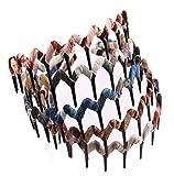 Fodattm 5 piezas Bohemia estilo diente de tiburón envuelto en tela para el pelo con dientes de plástico peine diadema