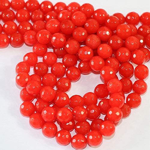PINGGUO Piedra natural de jade rojo de piedra calcedonia 4 mm 6 mm 8 mm 10 mm 12 mm cuentas sueltas redondas talladas piedras semipreciosas DIY joyería 15 pulgadas B10