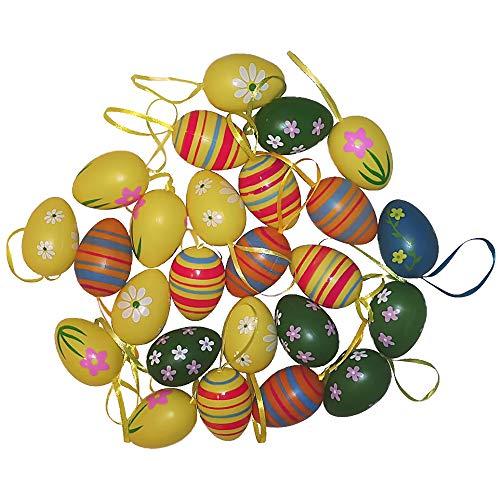 YYOJ 24 uova di Pasqua da appendere, in plastica dipinta a mano, decorazione pasquale con fantastici motivi dipinti, dimensioni: 6 cm, stile casuale