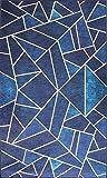 MANI TEXTILE Grafic Alfombra, poliéster, Azul, 50 x 80