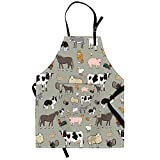 Qchengsan - Delantal infantil colorido de animales, vaca lechera, con bolsillo y tirante ajustable al cuello, 17, 19'Wx23'L