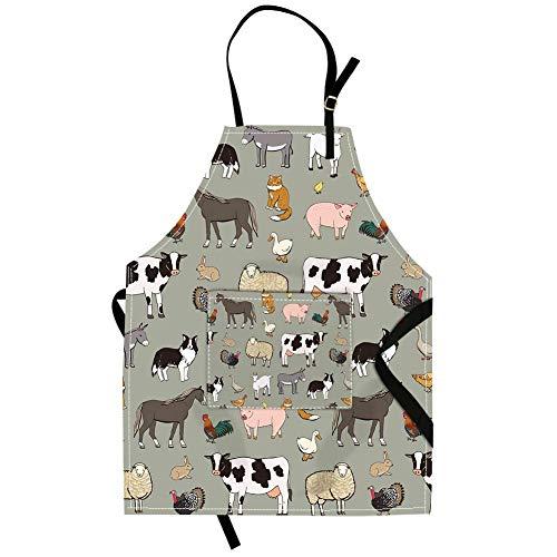 Qchengsan - Delantal infantil colorido de animales, vaca lechera, con bolsillo y tirante ajustable al cuello, 17, 19