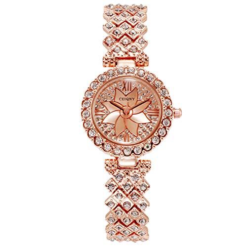 RORIOS Elegante Mujer Relojes Bling Diamante Reloj Cristal Rhinestone Reloj de Acero Inoxidable Correa Pulsera Mujeres