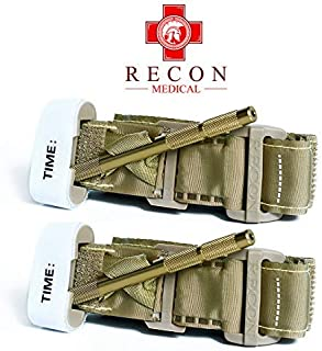 Product Name: Recon Medical TANTQTourniquet - (TAN) Gen 3 Mil-Spec Kevlar Metal Windlass Aluminum First Aid Tactical Swat Medic Pre-Hospital Life Saving Hemorrhage Control Registration Card 2Pack (2)