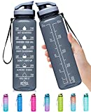 Elvira 32oz Large Water Bottle with Motivational Time Marker & Removable Strainer,Fast Flow BPA Free Non-Toxic for Fitness, Gym and Outdoor Sports-Black