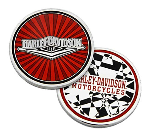 Harley-Davidson Red Tank H-D Metal Challenge Coin, 1.75in, Red & Silver Finishes