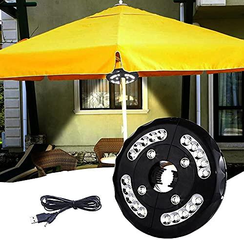 Sonnenschirm Beleuchtung,24 Led WarmeLicht Lampe,3 Modi Camping LED Lampe und USB Aufladen 3000K Warmweiß Wiederaufladbar Terrassenschirmeist Geeignet für Garten Strand Außenleuchten BBQ Party