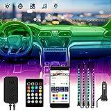 Interior Car Lights, CHUSSTANG 48 LEDs 4pcs Car Led Lights, RGB Car Interior Lights Bluetooth App Control Lighting Kits, Led Strip Lights for Cars, Automotive Neon Accent Light Kits, DC 12V