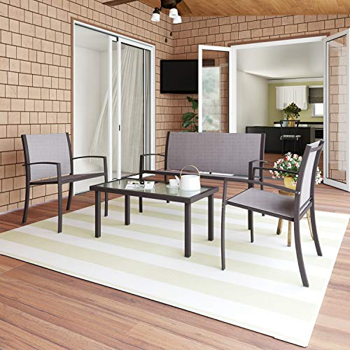Joolihome living Garden Furniture Sets,Ratten 4 Seater Garden Table and Chairs Conservatory Furniture,Table and Chairs for patio/Balcony/Outdoor (3+1)