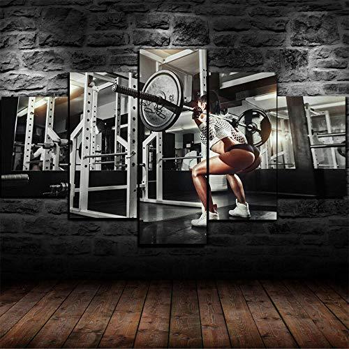 65Tdfc - 5 Pieza Cuadros sobre Lienzo - Fit Girl Squat Gym Workout Ejercicio - Poster Framework HD Impresiones Decoración para El Hogar Decoración Dormitorio Arte De La Lona